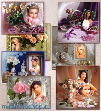 Рамки с цветами для фотошоп