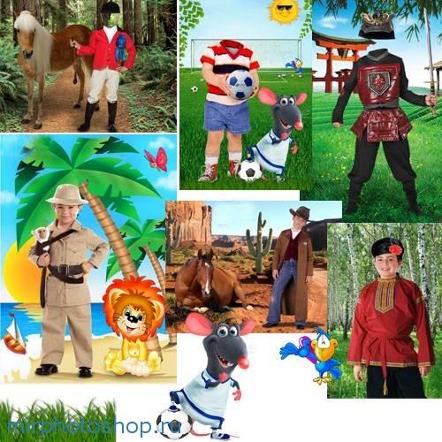 Шаблоны костюмов мальчикам для фотошоп